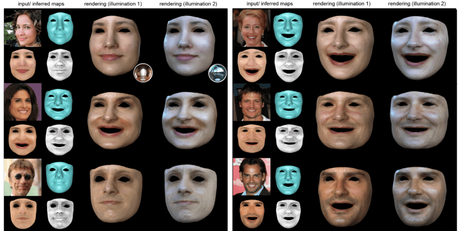 Рис.4. Примеры полученных 3D-текстур лица в новых условиях освещения