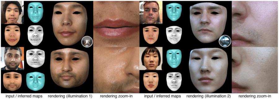 Рис.1. 3D текстуры лица, полученные на основе одной фотографии