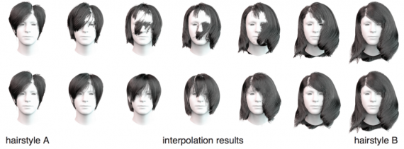 Interpolation results between two hairstyles