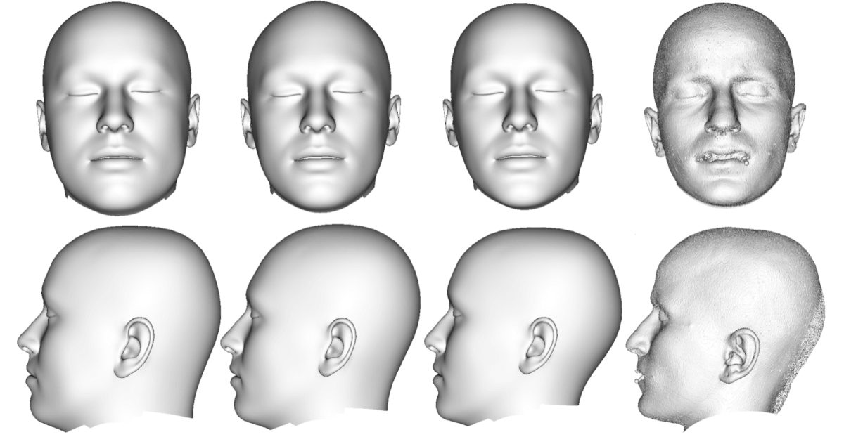 Comparison of head fittings and extracted skin surface from CT. From left to right: Fitted head to sphere model based on mean FSTT, fitted head to sphere model based on ¯t − 1.5σ1w1, fitted head to sphere model based on original FSTT, extracted skin surface from CT.