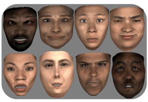 Faces synthesized using the 3DMM linear model