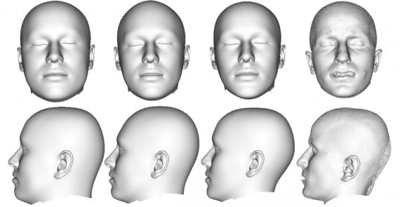 Сравнение полученных моделей головы и лица, извлеченных из томографических сканов