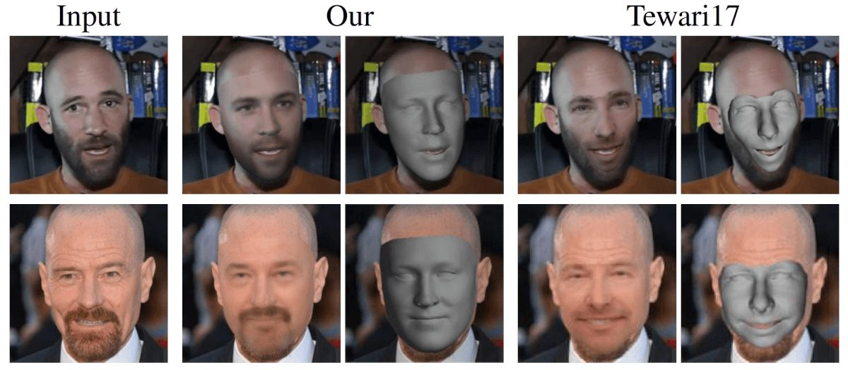 3D reconstruction results comparison to Tewari et al. This result shows that the proposed method overcomes the problem of face shrinking when dealing with a different texture (like facial hair)