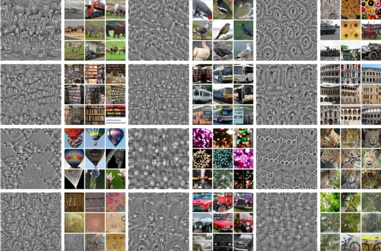 Filter visualization and top 9 activated images for target filters in the last convolutional layer of VGG-16 trained with DeepCluster