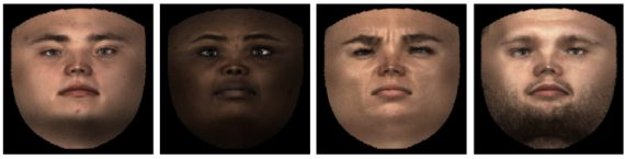 Flattened aligned facial textures