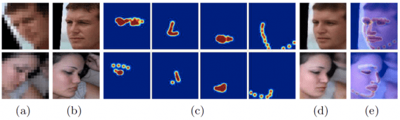 Visualization of estimated facial component heatmaps: (a) Unaligned LR image; (b) HR image; (c) Heatmaps; (d) Result; (e) The estimated heatmaps overlying the results