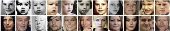 Examples of face crops for matching pairs in the LAG dataset
