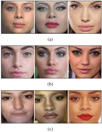 Examples of images in the MIFS dataset after cropping: before makeup – after makeup – target identity