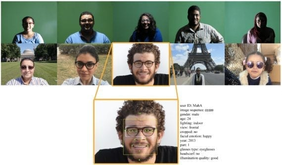Samples from SoF dataset: metadata for each image includes 17 facial landmarks, a glass rectangle, and a face rectangle
