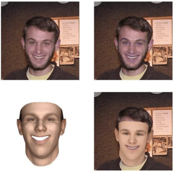 Top row: the original image and landmark. Bottom row: 3D face model and its alignment to the 2D image