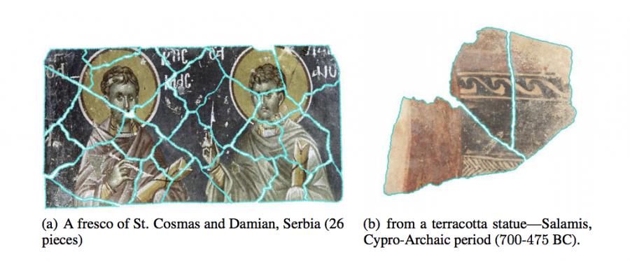 Примеры работы алгоритма восстановление исторических артефактов