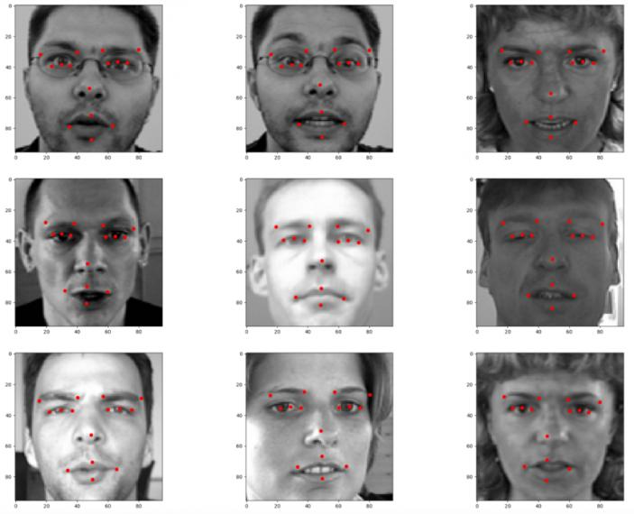 Результат построения ключевых точек на лицах